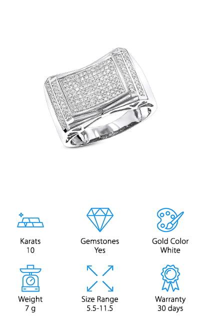 Luxurman Pave Set Diamond Ring