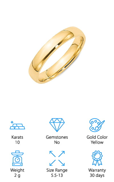 This beautifully simple ring by Sonia Jewels definitely deserved a spot on our list! It's made of solid 10-karat yellow gold. It's polished to a gorgeous mirror finish that will dazzle you! The gold purity has been authenticated, and it is stamped as well as presented with a certificate that proves it is exactly how much it is worth. That's pretty amazing! It comes with a gorgeous ring box so it's easy to present and for your loved one to appreciate. It's crafted by the best, for the best! It's a comfort fit band, which means that the metal on the inside of the band is curved so it fits a bit away from your finger, and it's more comfortable to wear as well. It'll feel great when you have it on! This yellow gold band comes in sizes ranging from 5.5 to 13 and most half-sizes in between, and weighs an impressive 2 grams.