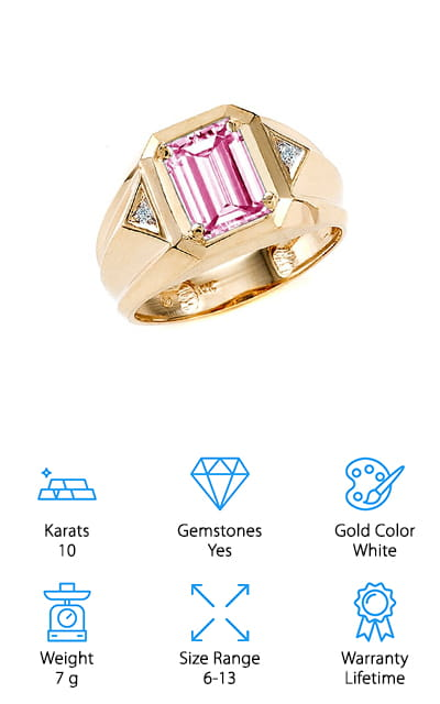 This gold ring for men is unique on our list for both the design and the stone that's present in it! This beautiful 10-karat yellow gold ring is set with a large, beautiful pink tourmaline stone directly in the center, as well as triangular diamonds on either side. This creates a beautifully unique design that your loved one will be proud to wear! The tourmaline is simulated, but that doesn't detract from its beauty at all. It's the simulated birthstone for October, which is perfect for someone born during this month! It's cut like an emerald for added class, with round diamonds on either side. It's available in sizes all the way from 6 to 13, so it will fit even the largest hands! The lifetime warranty definitely makes this ring a great purchase and will ease your mind. We just love the design of this ring, and we are sure that you or your loved one will as well!