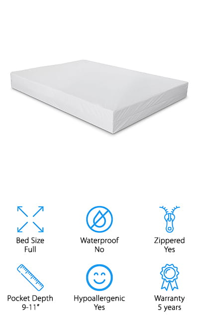 This cover from Everest can be used on either the mattress or the box springs, as long as they are between 9 inches and 11 inches deep. It's got strong, stretchable fabric on all sides, so it will fit comfortably without bunching up in the middle of the night. We love that it has a double-sided use so you can flip the mattress without having to take the cover off. It's also noiseless, so it won't wake up lighter sleepers at all. Even though it has all of these features, it won't change the way that your mattress feels, so it's great if you already love the comfort of your mattress. More importantly, it's hypoallergenic and 100% bed bug proof. They can't get in or out! This will also help with asthma and other respiratory conditions, as well as allergies and eczema. You'll just feel better in general when you wake up on this mattress cover!