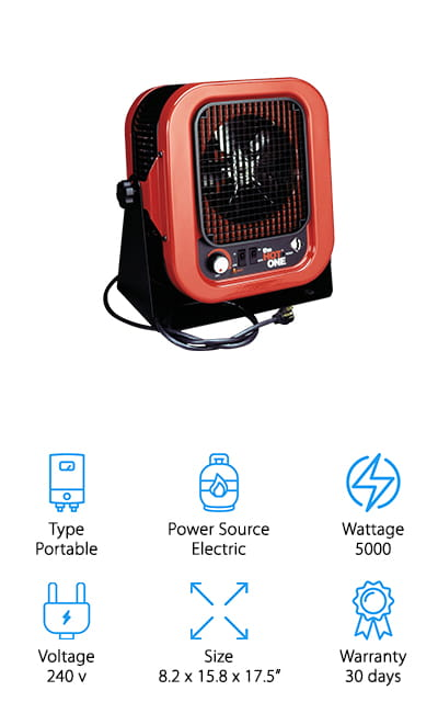 This portable heater from Cadet comes in as one of the best electric garage heaters, 240v powered. IT includes a 6-foot cord; however, this heater needs a 30 amp outlet to be able to work. It's great for the job site or other heavy-duty places, and you might even have one of these plugs in your garage. You can use it right on the floor if you want, but you can definitely mount it on the wall if that works best for you. This unit is constructed of 20-gauge steel, so it won't wear away. At the same time, it is finished with black powder to help prevent scratches, dings, and normal wear. This heater will continue to look great no matter where you haul it to for work. What we found great about this heater was the fact that the fan can be used without the heating element on. It can double as a self-contained fan in the summertime!