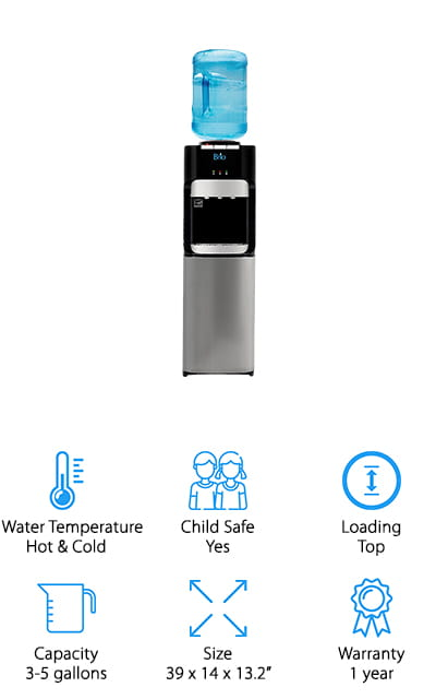 This freestanding office water cooler by Brio is an excellent alternative to a heavy-duty appliance. You can keep it in your home, waiting room, library, or another public place without having to go through a company, which is going to save you money in the long run. We love that the single faucet gives you all three temperatures of water, so you always have exactly the water that you need! It's got a child lock for safety. One of the best features of this unit is the 100% stainless steel reservoirs. The hot and cold tanks are separate, and this helps to preserve water purity and also helps the cooler function longer. It uses a minimum amount of electricity to run, which is always a plus! We know that this classy design will fit perfectly into your home or office décor – and it's easy to clean so you don't have to worry about extra work.