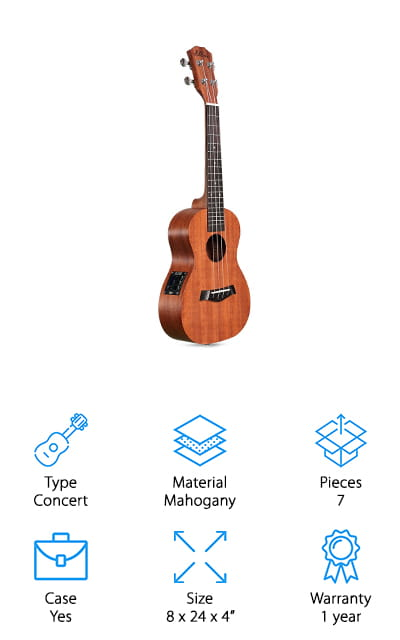 One of the best concert ukulele brands is Ellen – and this time, they're coming in with the only electric ukulele on our list! It comes with so many extras, it's a full kit without any extra pieces to purchase! It requires an amp, but don't rush out and buy one: this beginner package comes fully equipped with an amp that works perfectly with the ukulele. Usually, amps are expensive on their own, so this is a great deal! It also comes with extra strings, and a shoulder strap for extra support. This is especially useful because the concert ukulele is the biggest one that you can buy. It comes with a padded case that will store everything that comes in this package but the separate amp. That's still pretty amazing! There's a battery as well as a power adaptor for the amp, so you can even play on the go! It's the best electric ukulele we found!