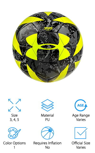 Here's another great ball from Under Armour that's available in sizes 3, 4, and 5. The cover design is black and gray camo with bright neon yellow accents that make it really easy to see on the field. You won't have any trouble following this one around. Under Armour use their Touchskin technology on the cover, too, which gives it a really smooth, soft feel. It's also designed to be reactive and transfer the power from your foot without losing too much force. Under the outside surface is a layer of foam for extra softness. That's not all, the rubber bladder holds in air and makes the ball bouncier and gives the player more control. It doesn't require inflation which means you can take it right out of the package and get started playing.