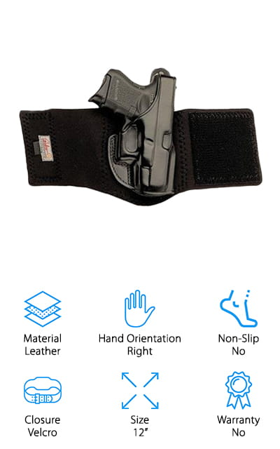 If you're looking for the perfect G43 ankle holster, have a look at the Galco AG800B. This one is designed especially for a Glock 43 and is particularly high quality. For one thing, it's made of black leather that's highly durable. It's also extremely comfortable and fits nicely around almost any ankle. And get this: it doesn't even need time to get work in. It feels great on your ankle right when you open the box. This holster is meant to be worn low on the ankle with low-top shoes and boots. The Velcro closure is snug and secure. In fact, it holds your firearm so effectively that you can even wear this jogging and feel comfortable that it's going to stay in place. Of course, it's great for concealed carry when you're going about your normal daily routine, too.