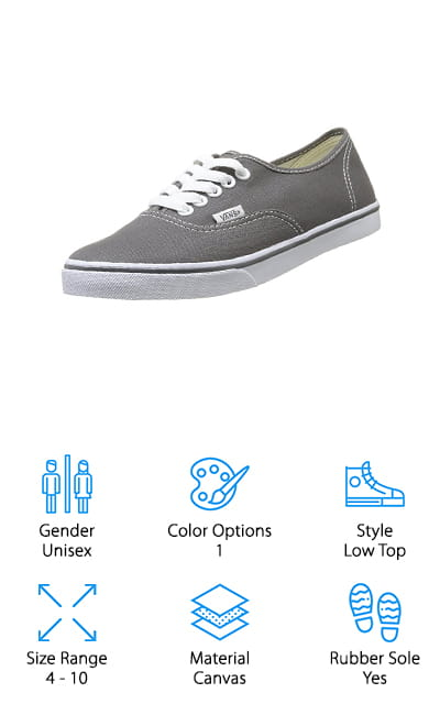 Last but certainly not least are the Vans Classic Lo Pro Sneakers. These shoes have the slimmest silhouette of any of the options on our list. They're a simple style that's really stood the test of time. In fact, compared to some of the loud colors and designs available in other styles, this Pewter colored shoe looks neat and tidy. The only embellishments are the rows of bright white double stitching around the top front, sides, and back of the show and a small Vans flag label. Oh, and the lace eyelets are white, too, and really pop against the gray of the canvas. Despite their low profile, they're still really durable. The vulcanized micro-waffle rubber sole is durable and has great grip, too. This unisex design comes in a range of sizes that fit anyone.