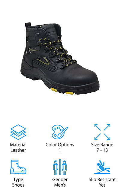 Ever Boots Protector Work Boots are a pair of steel toe safety shoes that are made for comfort and safety. The steel toe caps protect your feet from a variety of workplace hazards. Get this, they're a great choice for anyone who works in the electrical industry because they're made to withstand 18,00 volts and can help reduce the risk of hazards in such an environment. The soles are oil and slip resistant and are able to stand up to a lot of abuse and extra supportive thanks to the included steel shank. They're comfortable, too. For one thing, the steel shank breaks at the ball of your foot to help alleviate pressure. Plus, the multiple layered outsole provides excellent shock absorption. The sole remains flexible for easy movement with nothing holding you back.
