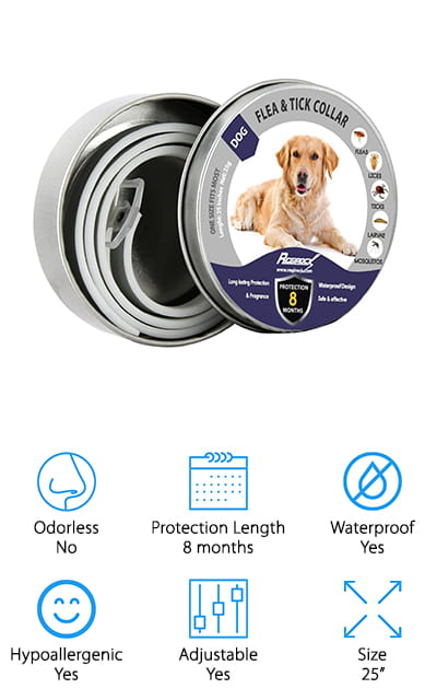 "This 8 month flea and tick collar is actually approved for use with cats as well as dogs, so all of your pets will be safer for using it. Completely hypoallergenic and waterproof, it uses natural essential oils in order to protect your dog. Economical and completely eco-friendly, all you have to do is hook it on and your pet will be protected from a range of different pests in no time. The collar even fits with dogs up to 25"" around the neck and can be trimmed down to fit smaller dogs as young as 8 weeks old. There's no grease involved, which means you can keep it on when you bathe your dog and you don't have to worry about them getting dirty from using the collar itself. Protect against fleas, ticks. Lice, mosquitoes, and larvae by using these flea collars for dogs that work"