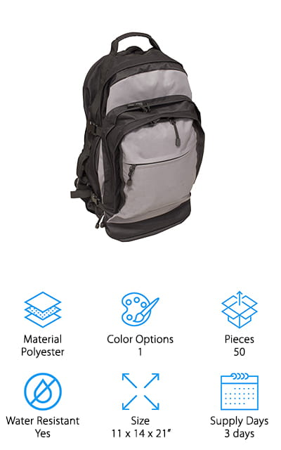 Our final option is a premade bug out bag, 3 day kit for 2 people. This bag doesn't look like much, but it definitely has a whole lot available. The bag itself has a nylon tent, sleeping bags, water, hygiene supplies and even emergency tools. You'll have space for your hydration bladder and even additional gear like a waterproof cover or even strikers. This bag has a guarantee that you'll be happy with it and the contents or you can contact the company to take care of the problem. This simple system is definitely better than you might even realize. You get plenty of pockets and support all the way around and the bag itself expands much larger than you might think, plus it keeps you prepared for anything that might happen out there.