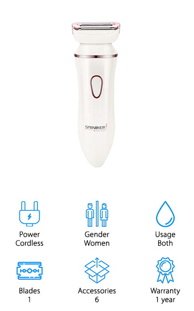 This women's razor actually comes with a range of different tools so you can not only get a great shave but a great morning experience as well. It has a 3 in 1 shaver head that helps you get a full shave, trimming or a cleansing brush and you can use it wet or dry, so it's up to your preference. The ergonomic design makes it even easier to hold onto while you're shaving and comfortable if you're doing so for an extended period of time. It's even made with hypoallergenic stainless steel for your comfort. Included with this system is a manicure set so you can really get yourself looking and feeling great when you've got the rest of your morning routine completed. Complete with a 1 year warranty you're definitely not missing anything with this.