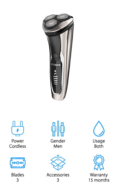 This best men's electric shaver for sensitive skin is designed to be used either wet or dry and plugs in easily with a USB plug. With just a single hour of charging time, you can get up to 1 ½ hours of use time, which means you're getting a great tradeoff and you can even charge it through your computer or your mobile phone. There's a 5 level display that lets you know how much battery is left and there are 4 direction floating heads that help you get great contour to the sides of your face and neck. The pop up shaver makes it easier to trim and the lock makes it safer to transport. There's a quiet motor included with this razor and a 15 month warranty that says it's going to work great for you or you can get your money back.