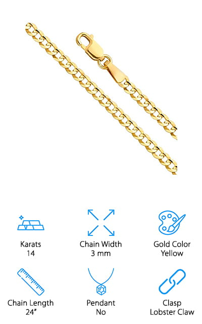 World Jewelry 14k Gold Chain