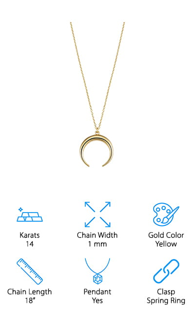 Last but not least comes the Gold Crescent Moon Pendant from JewelryAffairs. The delicate yellow gold cable link chain is about 1mm wide and comes with a standard spring ring clasp. It's a good length for a chain with a charm attached because of where it sits. The polished finish really catches the light and adds to the look of the charm. And speaking of the charm, this one is free floating, meaning that it has a ring attached where the chain is threaded so it's free to move around as it hangs. The opening of the harvest moon faces downwards so it looks almost like an upside U. It's a shiny and smooth and roughly the same circumference as a dime. This necklace comes with a gift box and is perfect for daily wear.