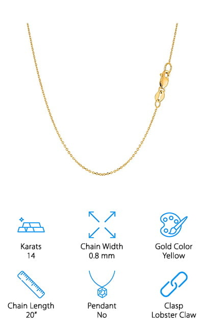 JewelryAffairs Cable Link Chain