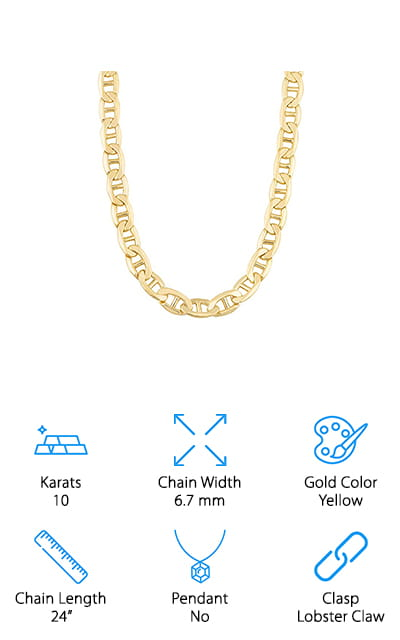 Kool Jewelry Mariner Link Chain