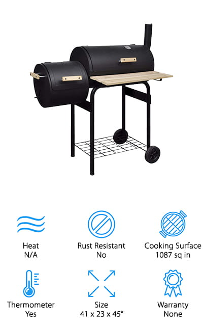 The Festnight BBQ Offset Smoker is a good offset smoker that has a generous cooking surface. The firebox and cooking surface are made of perfectly sealed, thick metal that keeps in the heat and flavor to cook meat evenly and consistently. Air outlets allow you to easily adjust the airflow to control the amount of smoke if needed. The integrated thermometer lets you know the inside temperature so you can make adjustments on the fly. It has a storage shelf below the grill and a shelf in the front so you have plenty of room to keep your utensils, spices, and other supplies. The front shelf and handles are made of wood so they'll stay cool while the smoker is working. Plus, there are 2 wheels for easy movement and storage.