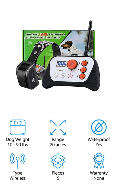 Last but not least in our invisible dog fence buying guide is the YouThink Wireless Dog Fence. With no digging and now wires, installation is really simple. Just set up the transmitter and choose the range. You can go up to 500 feet in any direction from the transmitter. The collar adjusts from 7 to 22 inches and is meant for dogs that weigh between 10 and 90 pounds. It's also 100% waterproof and safe for your dog to wear even when swimming. It also includes a remote control so you can use it as a training tool for other behaviors, too. Another great thing about this product is that it's portable. All you need to do is take the receiver with you and you can set it up wherever you need a safe area for your pet.