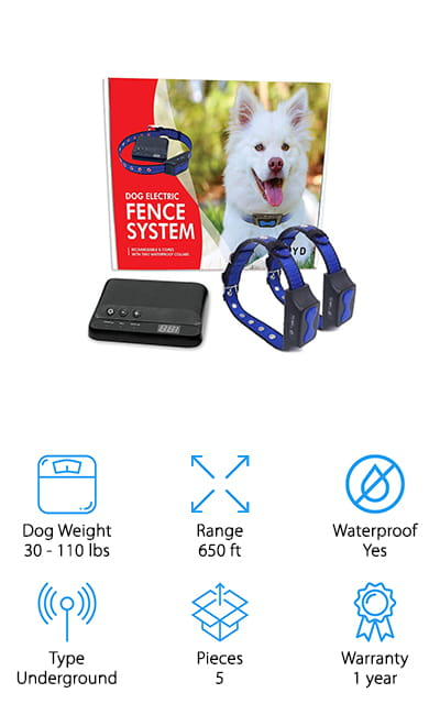 Our next pick for best dog fence for sale is the Floyd Invisible Dog Fence. This system is ideal for all breeds except toys and meant for dogs that weigh between 30 and 110 pounds. The collars are lightweight and easy for your dog to wear. Installing the underground wire is easy, especially because they include step by step instructions so you know you're getting it right. The collars are weather and waterproof so your dog will still be protected even when playing in the rain or splashing in mud puddles. It a problem occurs with the wire, an alarm will sound to alert you so you can take care of it quickly. This system comes with a 1-year warranty and customer service representatives available if you have any questions or problems.