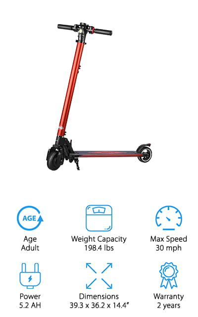 Another choice for best rated electric scooter is this one from Partu Electric. It's made of strong carbon steel and can hold up to 198.4 pounds which just happens to be the weight of an average adult. This scooter actually has 3 different gears with a maximum possible speed of an astounding 30 mph. You can see why we recommend this one for an adult! The battery takes 4 hours to charge completely and can ride about 7.5 miles, depending on speed and road conditions. The controls are pretty easy to understand, too. One more really awesome thing about this scooter is that you can adjust the height. It goes from 32.2 to 36.2 inches which is perfect for adults of almost any height.