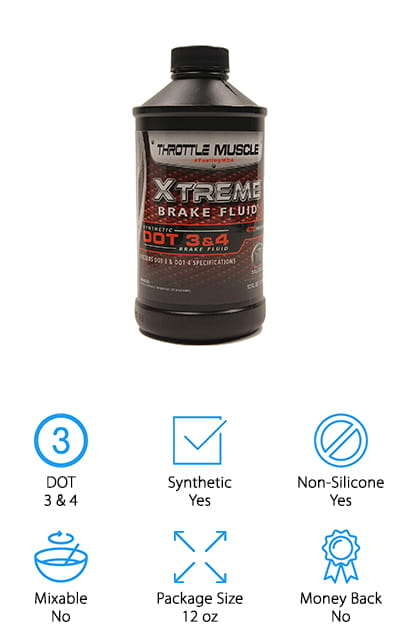 The cool thing about Throttle Muscle Race Brake Fluid is that it meets all the requirements to be considered both a DOT 3 and DOT 4. It provides superior protection in even harsh conditions. And get this, it provides maximum protection both on and off road. It's made for modern high temperature braking systems include ABS, disc, and drums and can even be used with hydraulic clutches. Plus, you can mix it with any synthetic or conventional fluid which makes it really convenient to top off the system. This formula protects against seal hardening and softening and protects against moisture absorption and vapor lock which will keep it working better, longer. Here's the kicker, this is also one of the more budget friendly choices of the best brake fluid for sale.