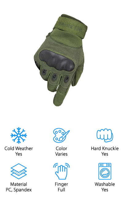 If you've been waiting for the best tactical gloves for cold weather, check out this pair from Free Soldier. These gloves are comfortable to wear and provide superior protection from both the weather and cuts and abrasions. The padding on the back protects your knuckles with a PC guard while also providing small, waterproof venting holes to allow air to flow. Another great feature is that the thumb is covered with absorbent material so you can effectively wipe away sweat while you're in the field. Because this glove has an ergonomic design, it fits the hand perfectly without restricting movement. These best tactical winter gloves also have no odor so you don't have to worry about cleaning them too often. They're available in 3 different colors, too: army green, black, and sand.