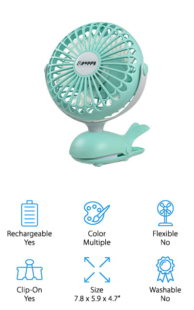 Apuppy Stroller Clip Fan