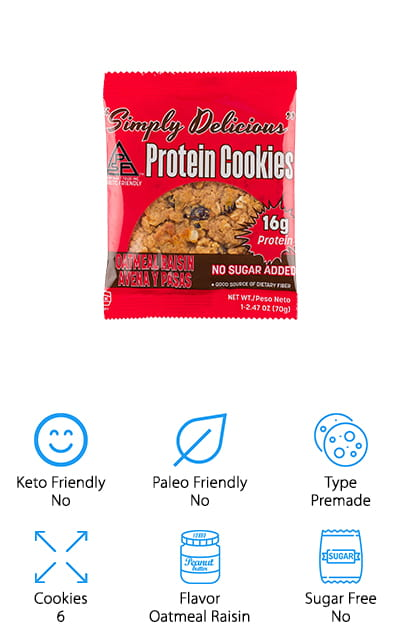 Simply Delicious Protein Cookies are made for the more active and athletic cookie fans among us. With no added sugar and 16 grams of protein in each cookie, it definitely helps to promote your fitness while having a low impact on blood sugar and the glycemic index of your body. It's also high in fiber that will help you digest and give you energy, and one large cookie ass only 20 net carbs in it. There are no artificial preservatives, trans fats, hydrogenated oils, or artificial flavors. It's all natural and packed with so much protein and fiber. This box comes with a total of six cookies, which you will go through pretty quickly once the whole family decides to try them! They taste great, and the low-carb option doesn't give you any less of any of the stuff that makes it a good cookie. The sweetener is even plant-based so it's not harmful. What's not to love?