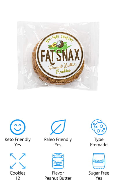 Fat Snax was a pioneer in the field of keto-friendly, low carb cookies – and they are still leading the pack with these peanut butter cookies. Rather than a mix like the other cookies on this list, they are pre-made and packaged two at a time. The box that you get when you order is a bulk order of six of the double-packs, so you get twelve cookies. They are good for paleo, as well as being sugar-free and having only 1 gram of net carbs. Because they are keto-centric cookies, they also contain 9 grams of healthy fat to help you sustain that diet. The peanut butter flavor is just as delicious as the other options that they offer. Here, the peanut butter flavor comes with a hint of salt that adds that extra something that makes these cookies amazing. Get the bold, traditional flavor that you've come to expect with the benefits of Fat Snax.