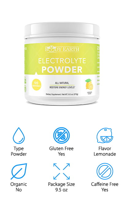 This powder by Body Earth is a great caffeine-free electrolyte drink mix. It tastes like the best lemonade you've ever had, with no calories. There's also no sugar, as everything is based on some sort of plant. It's sweetened with organic Stevia Leaf Extract, which means that it tastes just as sweet as with regular sugar but without the unhealthy side effects. Use it before your workout to inspire your peak performance, and afterward to recover faster than you ever have before! One scoop in 16 ounces of water does the trick to keep you hydrated and balanced on your electrolytes. It's vegan and non-GMO, so you can safely drink it if you are trying to be conscious of those things. This electrolyte blend is full of vitamin C, zinc, calcium, and all of the electrolytes that you need to keep going. Plus it's friendly for the Paleo diet as well as keto, and it's free of gluten and dairy.