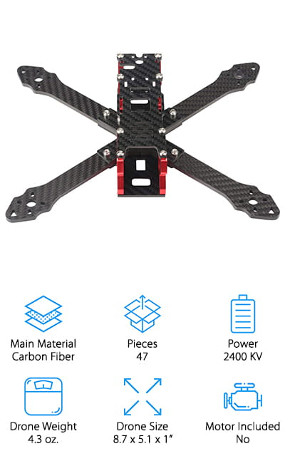 Next up is another favorite to create the best quadcopter kit for both racing and recreational flying! This frame kit from DLFPV is lightweight, yet durable enough to handle whatever extra equipment you attach to it. The 210mm wheelbase is large enough that you can add racing equipment like extra batteries and a small camera without running out of space or weighing it down. It's also only just over 4 oz., making it light enough to zip through the air with ease - even if it's loaded up! We also like that the carbon fiber pieces are thick, giving this drone frame extra stability while flying in windy or rainy weather. The kit comes with all the parts you need to put the frame together quickly - no extra cutting or soldering required! If you want to upgrade your current drone frame, we think this is a great option that will give you the versatility you need to truly customize your drone!
