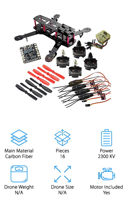 Our final quadcopter kit comes to us from Hobbypower, and it's a great mini-drone to get you or your child started. This is a good option for someone who already flies drones and wants to add a smaller one to their collection. It comes with just about everything you'll need: a lightweight, carbon fiber body that's easy to assemble, motor, speed controller, flight controller, and propellers. The extra parts bag includes a battery strap, zip ties, power plug adapters, and more!  All you have to provide is a handheld controller to get your drone up in the air. This is a popular mini-drone kit for FPV racing because it's lightweight, easy to assemble, and capable of being customized to your specific needs. If you are looking for a small drone to take FPV flying or a reliable drone you can easily put together in an afternoon and fly around your local park, we think you'll love setting up this one!