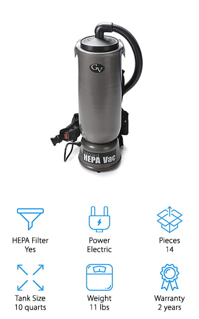 If you need a commercial vacuum to clean up a large space, but keep your allergies at bay, check out this backpack vacuum from GV! We really like that this vacuum can hold up to 10 quarts of dust and debris while only weighing 11 pounds! The 3-stage HEPA filter system is great for sucking up plenty of pollen, dust, and other allergens while keeping the air around you safe and clean. A major plus if you have severe allergies! It's also great that they include 6 extra bags, so you don't have to worry about finding replacements any time soon! The attachments are great for general cleaning, including a multi-type flooring tool, small attachments for upholstery, and the same pet hair tool as the GV vacuum earlier in the list! This would be the perfect backpack vacuum to have in your garage or workshop because it's large, lightweight, and easy to use to keep your workspace clean and sanitary!