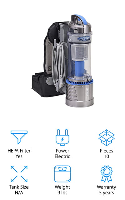 Finally, if you're looking for a bagless backpack vacuum that will keep your home clean without extra parts to buy, definitely check out this one from Prolux! Their backpack vacuum uses a bagless tank to store dirt and dust, eliminating the need for buying replacement bags every so often. Oh, and the HEPA filters are washable, so you don't have to replace them for a long time either! This not only reduces the overall cost over the lifetime of your vacuum, it also reduces the amount of waste! We also like all the features it comes with – including a pet hair tool, various attachments, and a 35-foot extension cord. You can clean just about any surface in your home without needing to bend or stretch, thanks to a long hose and adjustable extension pole. Whether your home is large or small, this compact and lightweight backpack is easy to use and will give you a clean home in no time!