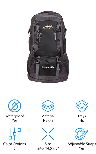 Last up in our fishing backpack buying guide is this lightweight and versatile backpack from Gohyo! The design is perfect for fishing gear, but you could easily use it for hiking, camping, mountain climbing, biking, and more! The 2 inner components are enormous, and the side pockets and loops add up to a lot of extra space for tools. It holds 60L of equipment, including a pouch to add a water bladder. That way, you can stay well hydrated while out on the boat all afternoon! We like that this bag is waterproof, but it comes with an extra cover to give you even more protection in a downpour. It's also comfortable to carry, with padded straps that are easy to adjust, a firm backing, and mesh outer lining to keep you cool on long trips! If you want an inexpensive bag that can work for your fishing trip and your next big hike, consider picking up this multi-use bag!