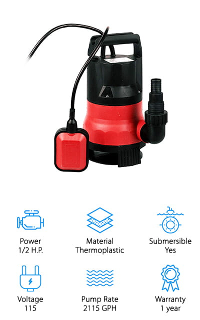 Last up in our sump pump buying guide is an inexpensive backup pump from Meditool that also works well with pools, hot tubs, and yard flooding. This small pump has a 1/2 horsepower motor, which is pretty good given how tiny the pump itself is. It can also clear out up to 2,115 gallons of water every hour, making it a great option for clearing out a large swimming pool or small pond. It's also made for handling either clean or dirty water, so you don't have to worry about clogging or debris messing up the machine. We also like that it has 3 different size hose adapters on the pump, so you can choose the hose size you need without lugging around extra adapters. In addition to clearing out water from your home, this pump can also be used for things like moving around water in your pond, or use it to operate a small fountain in your yard!