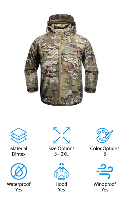 This Tactical Jacket from Free Soldier is made of Dintex, which is a high-quality material that many more expensive jackets are made of. It's a polyurethane and polyester layer system that includes a soft inner shell (in this case, lined with fleece), a middle waterproof and wind resistant layer, and a strong outside layer that can stretch and breathe. It's one of the best tactical jackets for this material! This jacket has vent zippers under the arms to make it even more breathable and comfortable to wear, as it will evaporate any moisture under your arms. There's a forearm pocket to easily be able to reach your favorite gear, as well as two Velcro patches and shoulder pockets. There's room to hide everything that you need and even a hidden hood with drawstring closure. We love all of the pockets on this model. It comes in two different camo styles, Army green, black, grey, and a khaki color!