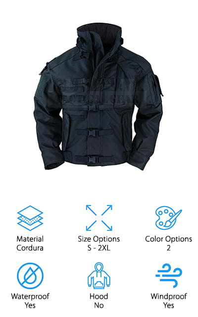 This last jacket is unique on our list for the way it is styled! This ZAPT jacket is covered in compression buckles to help keep any loose parts of the jacket out of the way, as well as to keep all of your heat inside the jacket. The elbows, shoulders, and cuffs are covered in two layers of Cordura, which is a durable fabric used in some tents and other outdoor gear. There is a strap in the back center of the jacket that would be used to hold combat items, as well as pen tubes, waist since, and arm gear pockets all over the body of the jacket. It looks very serious! One of the coolest features is the interior flashlight pocket, perfect for holding those larger, heavy flashlights. We especially love the windproof collar design – so you can stay comfortable while undergoing all manner of adventures. It's an aggressive jacket that you're sure to love!