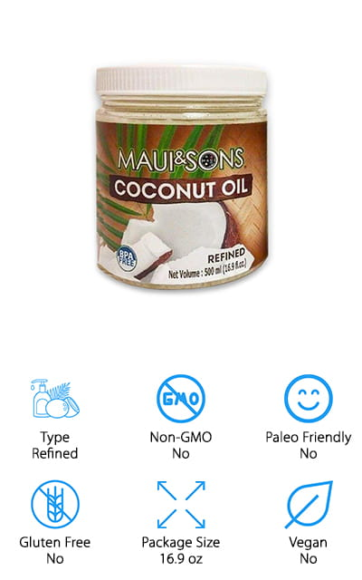 This refined coconut oil from Maui & Sons is pure and perfect for frying and baking. The oil is cold pressed so it's still full of all of the great things that make it a good choice for people on the ketogenic diet as well as others. Use it as a cooking oil in place of butter or other options. It tastes and smells neutral enough that you won't even be able to tell that you've made a substitution, and you'll get all the great benefits from doing so. It's great for hot drinks – for your coffee and tea – to help maintain ketosis or give your body that extra push to get there. In this lot, you get two 16.9-ounce BPA-free jars of the oil, so you can hit the ground running with this great product, and you won't have to repurchase it too often. We know you'll love it as much as we do!