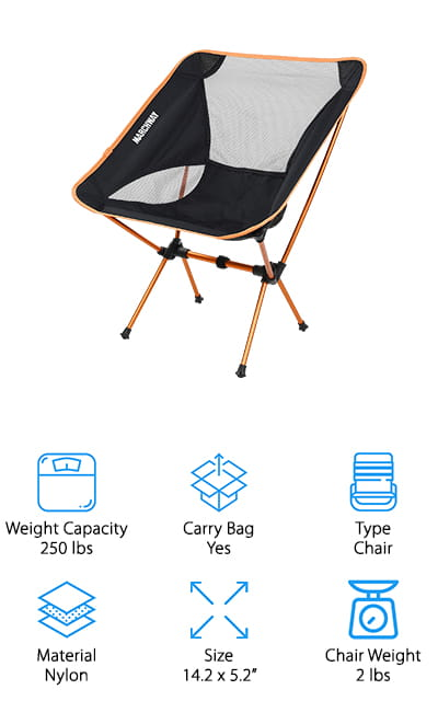 This sturdy MARCHWAY camping chair comes in a variety of colors – including green and purple, which we hadn't seen before we started this list! We love that level of customization. It's simple to set up with shock-corded poles reminiscent of tent poles. The seat is made of high-quality ripstop nylon, so you can be sure that it's not going to tear or give out on you. It's ergonomically designed so that you can get the highest level of comfort available and not be in pain from standing up from a low position. The poles are aluminum and corrosion-resistant while still being ultralight. This 2-pound chair can hold up to 250 pounds without breaking a sweat! Use it outside for a barbeque, or pack it away in the back of your car just in case you're ever in a position to need it. It won't weigh you down and it doesn't take up much room.