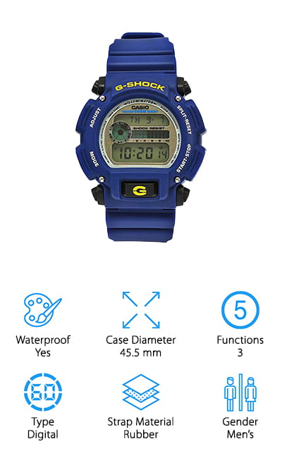 This relatively cheap G shock watch is styled a little bit differently from the rest. There are more buttons sticking out from the case, rather than being embedded into it. It's also a beautiful deep dark blue color that is sure to stand out no matter where you are wearing it. It features a chronograph, as well as a backlight that uses electro-luminescence technology to make sure you can see everything that's going on with it. The rubber band is a little more flexible and comfortable, and it has a nice buckle closure so there's no elastic. The movement is tracked by quartz, even under the digital display, so you know that you're always getting the most accurate time. It even has an alarm and a scratch-resistant mineral face to keep it looking great. It will work well in water up to 660 feet as long as you don't press any buttons! We love this watch.