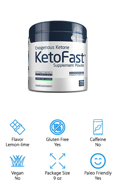 This Keto Fast supplement powder provides you with all the exogenous ketones that you need to help kick your day off right. It works fast – just about as fast as your morning cup of coffee for giving you the energy and mental focus to get through your day without the slump that comes afterward. Extend your ketogenic state, and get back to it quickly after falling off of your diet. It's even great for the paleo diet, as it contains no wheat products. It also helps to curb your appetite so that you aren't hungry all the time while increasing your metabolism to help your workout and diet gain effectiveness. Use it in your water or shake to get a burst of clean energy that doesn't give you any jitters afterward. We love how quickly this supplement works to help you get to ketosis, and how much energy it gives you with just a single natural scoop.