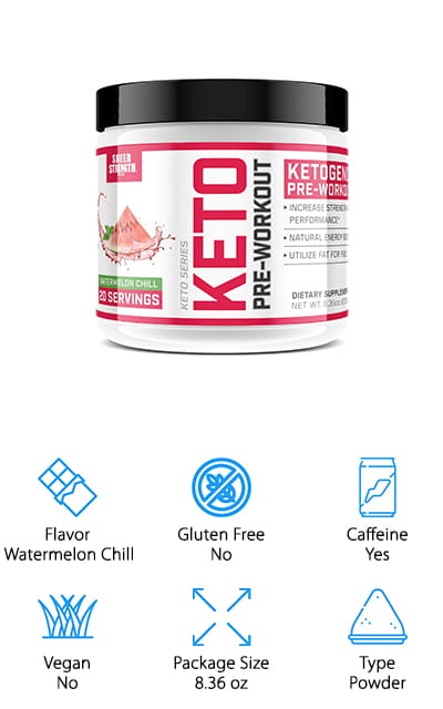 This pre workout supplement by Sheer Strength comes in a delicious Watermelon Chill flavor, which will immediately raise your blood ketone levels and help you get back into the game. It's specifically formulated for the keto diet, so it's full of all of the BHB salts and ketones that you need to help you get your body working the right way for the ketogenic diet. Use a scoop in your water twenty minutes before you work out to get the best results, and start burning off all of that stored fat as energy! It's a much more stable energy source, so you should enjoy it a lot more than you would a caffeine-only drink. It does contain caffeine, just in case you need that extra push to get moving in the morning. It's pure and effective at getting you into the state of ketosis and keeping you there, even after you are done with your workout routine.