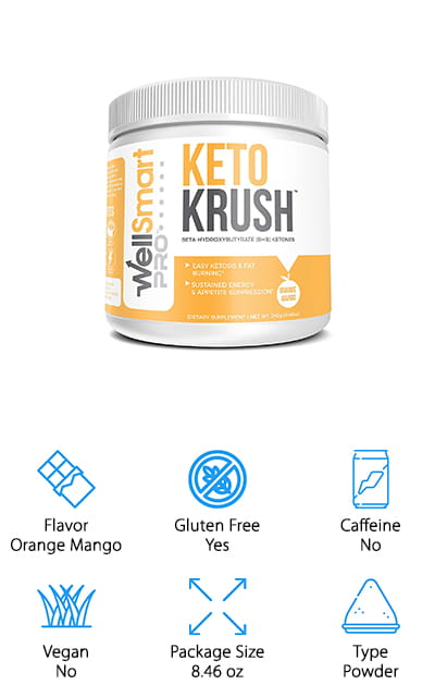 KETO KRUSH helps you get back into ketosis quickly! They recommend using the delicious orange mango-flavored powder in a shake instead of just water, but of course, you can do that as well. It's up to you how you consume this wonderful supplement! It's completely organic and free of gluten, but what it does have is all the hits; magnesium, calcium, sodium, and the coveted BHB salts that help you get to your peak performance and absorb quickly. There are no carbs or caffeine, and it's free of all sugar, soy, wheat or dairy products. It's perfect for nearly everyone on the keto diet and any other type of diet as well! It's non-GMO and completely natural, and we love how pure and tasty it is! You can use it any time, between school and work, plus before and after workouts. It's great for any occasion, and there are 16 servings in this canister for your convenience!