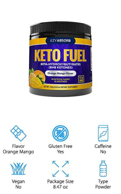 This orange mango powder drink mix by EzyAbsorb is a great supplement to your keto diet! There are 11.7 grams of lightning-fast ketones, so you can immediately get a blood ketone boost to help you get back into ketosis. Plus, it doesn't just get you there – it keeps you there so that you can work out and burn all of the stored up fat that you have. It absorbs quickly and easily. The combination of the goBHB matrix and the rich nutrients will keep you going strong in your keto diet. IT's free of any carbs, caffeine, and gluten – and the energy that it gives you is all natural. Did we mention that the orange mango flavor is absolutely delicious? It's a simple concept with a perfectly pre-measured scoop that will give you just what you need without any of the extra stuff that you don't want. It's pure and potent and will deliver your ketones fast!