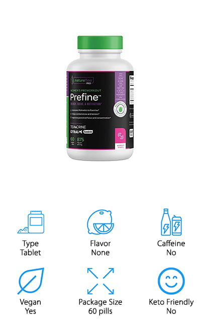This low caffeine pre workout women's supplement contains 60 tablets that help you lose weight and increase your motivation. You'll be able to get a more competitive edge and several ingredients that improve performance without stress or tension. Made from quality ingredients and absolutely no GMO's, gluten, wheat, animal derivatives, preservatives or other allergens, it's considered safe for vegans as well. What's even more important is that you'll have no problem getting your money back if for any reason you're not happy with the product once you try it.