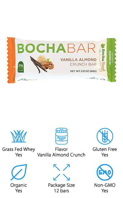 These bars taste like vanilla almond crunch and are made with grass fed collagen and absolutely no gluten. Low carb and great for your keto diet, they also have MCT's to help with energy, focus and physical performance. Not only that but they can help you feel more full and satisfied for a longer period of time. Made with the right amino acids to help improve joints, hair, skin and nails, these bars are also sweetened with kabocha extract, which is zero calorie and zero glycemic. You can use these bars before or after a workout or you can even take them with you when you're traveling because they're small, lightweight and definitely easy to eat. You feel like you're indulging in something special but really you're getting a whole lot of health benefits you wouldn't get anywhere else.
