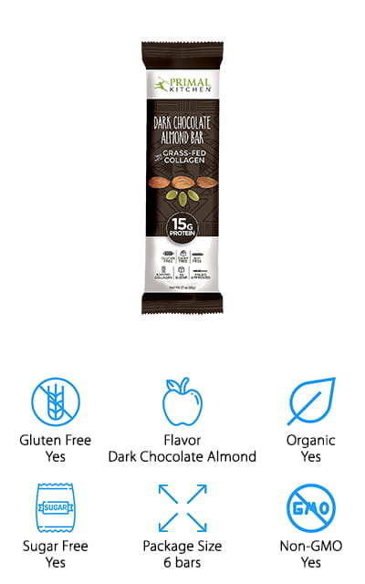 These bars have collagen protein and come in several different flavors including dark chocolate almond, chocolate hazelnut, coconut cashew and more. The paleo bars are gluten free and have plenty of protein with a very low level of sugar and carbs. They are gluten free, grain free, dairy free, soy and whey free. Not only that but they have plenty of healthy fats and help improve joints, skin, hair and nails. They also improve gut health with prebiotic fibers. Turkish almonds and roasted pumpkin seeds help to get just the right amount of texture and great flavor that will give you a great snack. They work great for pre or post workout and can also be a great addition to your normal day as a great snack. You'll have plenty of improvements for your overall health throughout the body.