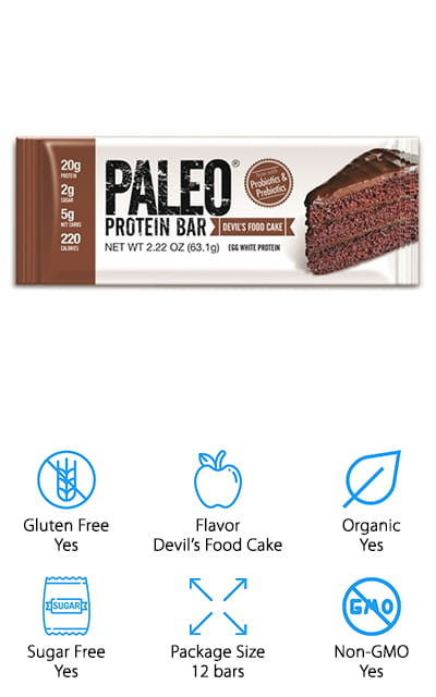 These paleo bars are designed to taste just like your favorite sweets, including devil's food cake, almond fudge or brownie. You'll get 12 bars in each package with plenty of egg white protein and a low amount of carbs. These bars are great as a meal replacement and can help you improve digestion and curb your appetite for up to 4 hours. They have organic pre and probiotics and can even stay fresh for up to 18 months. Made in a completely gluten free facility, these bars are also GMO and soy free. Sweetened with monk fruit and no added sugar, the bars have no nuts, which also makes them safer for many users. Completely vegetarian, these bars are dairy, whey and grain free as well. The ingredients are organic and provide you with additional health benefits at the same time. There are 4 ingredients total, in fact, egg whites, organic sunflower butter, organic prebiotic tapioca fiber and monk fruit.