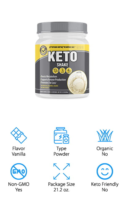 This meal replacement protein powder is low carb and perfect for jump starting your great day. It can help with increasing ketone production as well as helping you to lose some weight, which is definitely going to help you get a great diet. Designed to help fat oxidation and boost metabolism, there are no artificial flavors, sweeteners or gluten included. Because of the ingredients that are included it helps suppress your appetite and keep you feeling full for even longer. With the option for vanilla flavoring or chocolate, you're going to have 13 grams of fat, 7 grams of protein and 4 grams of carbs to get the right level of balance for anything you need throughout the day. With 20 servings per canister, you're ready to go for a long time.