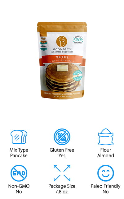 This pancake mix or ketogenic bread is gluten free and grain free, made with an almond flour keto bread that's great for those with gluten sensitivities. The low carb mix is also soy free and vegetarian, so you can feel great about eating it and serving it to your family. Plus, you'll be able to make 20 pancakes out of a single bag, which gives you enough to share with the family, maybe even for a couple breakfasts. Eggs, milk, butter and some vanilla make this a great breakfast, but if you want more traditional pancakes you can skip the added flavor of the vanilla. Sweetened with erythritol and stevia, you'll get only 1 net carb from a single serving. There are actually only 5 ingredients to the mix, almond flour, erythritol, baking powder, salt and stevia, so you always know what you're getting and you know that it's simplicity that is really going to make these pancakes taste great for everyone.